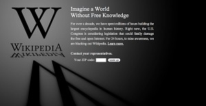 "Wikipedia was one of the web sites that went ""black"" Wednesday as a form of protest."