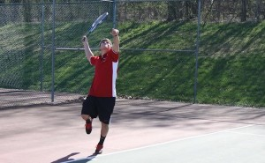 Anthony Siderio shows off his perfect form on a serve. Photo courtesy of South Kent School