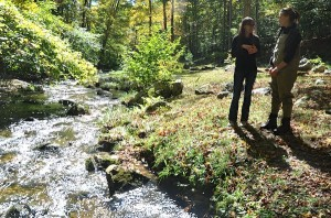 Mrs.MaryAnn Haverstock speaks with a state representative next to Macedonia Brook in Kent.  Photo by Alex Popov
