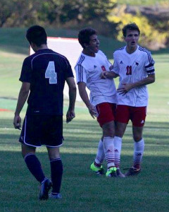 Goal scorers, Joao Burti and Chris Watts , react to the SKS win, 3-1, Oct. 7 against Kent School. Photo courtesy of South Kent School